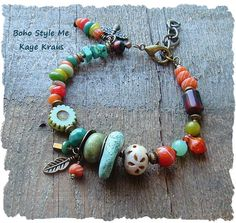 This wonderful bracelet is a reflection of my passion for earthy Bohemian colors and textures. This nature inspired bracelet features rustic
