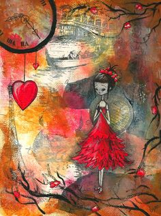 5x7 - 4x6 art print on either glossy or matte photo paper.   -Mixed Media Art Style -Decoupage  -Acrylics -Ink  -Pen  -Graphite Pencil  -HP Photo Paper   Artist: Lynn N   (Inspired by the film Jack and the Cuckoo Clock Heart. I do not own the characters.)
