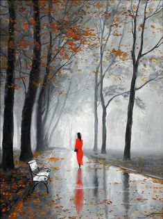 А.Болотов. Mujer bajo la lluvia en otoño