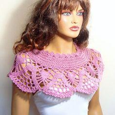 Crochet Bridal Bolero Shrug Shawl Dark Pink Lace Shawl by Pasin