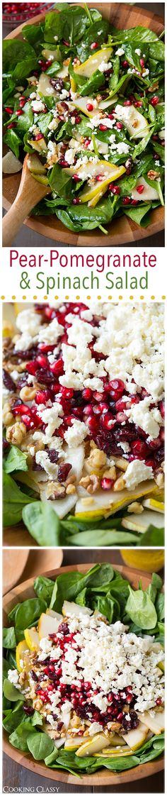 A beautiful salad to serve as a healthy side dish filled with Pear, Pomegranate, and Spinach with Feta and Vinaigrette. Very festive.