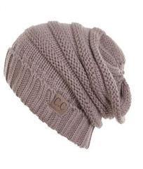 Unisex Soft Stretch Oversized Knit Slouchy Beanie (Taupe)