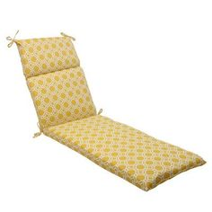Pillow Perfect Rossmere Outdoor Chaise Lounge Cushion Color: Yellow / White