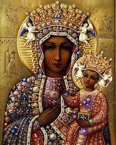 Today is the historical feast of Our Lady of Czestochowa (The Black Madonna). The Black Madonna was painted by St. Blessed Mother Mary, Blessed Virgin Mary, Divine Mother, Religious Icons, Religious Art, Divine Mercy Image, Our Lady Of Czestochowa, World Youth Day, La Madone