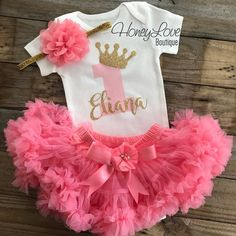 b5feb5a3b Personalized 1st Birthday Princess outfit - Gold Glitter and Coral Pink -  embellished pettiskirt - HoneyLoveBoutique