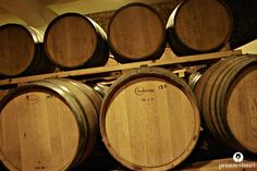 French barriques at Stelios Kechris Domaine, Greece. Wine Cellars, French, Greece, French People, Wine Fridge, French Language, France