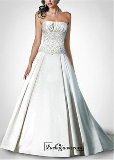 Buy Beautiful Exquisite Elegant Satin A-line Wedding Dress In Great Handwork Online Dress Store At LuckyGown.com