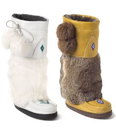 Manitobah Mukluks is an Aboriginal-owned Canadian company and all of their products are made in Winnipeg, Manitoba. $329.99 white ones r cute