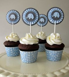 Baby Blue and Gray Baby Elephant Rosettes Cupcake Toppers- Elephant Baby Shower Decorations. Baby Shower Azul, Fiesta Baby Shower, Shower Bebe, Baby Shower Parties, Baby Shower Themes, Baby Boy Shower, Shower Ideas, Baby Shower Cupcake Cake, Shower Cakes