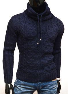-gruby sweter ze stójką                             -niepowtarzalny wzór  -trwały splot                            -najwyższa jakość wykonania                         -materiał 70% wełna, 30% akryl                          -na tej aukcji kupujesz kolor GRANATOWY