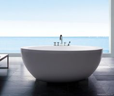 if I had that view I'd want an open bathroom too. love the freestanding tub! Open Bathroom, Bathroom Ideas, Maybe Someday, Bubble Bath, Places To Go, Freestanding Bathtub, House Design, Interior Design, Cool Stuff