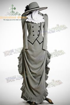 Victorian Gothic, Steampunk Tour Outfit: Tuxedo, Bustle Skirt, Hat -- with different hat