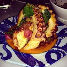 The 10 Best Octopus Dishes in Toronto - TasteToronto Grilled Octopus, Protein Pack, The 10, Vegetable Pizza, Food To Make, Toronto, Restaurant, Meals, Dishes