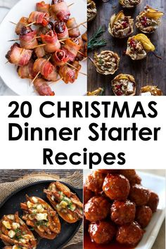 Hosting Christmas Dinner can be intimidating but with these 20 christmas food dinner starters we have you covered. Check out this list of delicious recipes! Christmas Dinner Starters, Easy Christmas Dinner, Dinner Party Starters, Christmas Dishes, Christmas Appetizers, Christmas Breakfast, Appetizers For Party, Christmas Holiday, Christmas Food Ideas For Dinner Meals