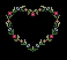 Simple floral heart outline - looks beautiful on the black fabric