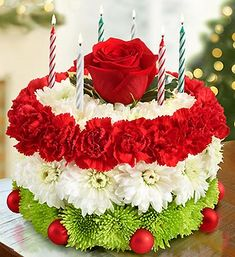 Birthday Flower Cake® for The Holidays- cake-shaped arrangement in floral foam includes red mini carnations, white cushion poms and green poms, topped with a single red rose and variegated holly
