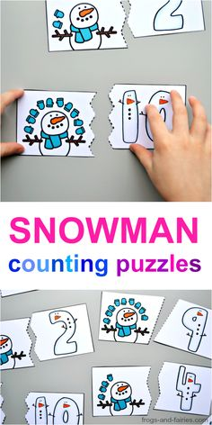 Practice counting with this free snowman counting puzzles printable! #counting #printablesforkids #freeprintables