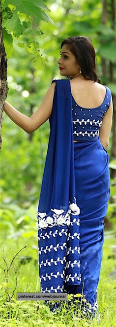 pure silk chiffon saree with organza flowers from eastandgrace.com