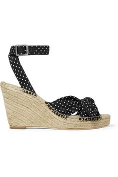 fdddda00f4a Loeffler Randall - Tessa knotted polka-dot cotton espadrille wedge sandals