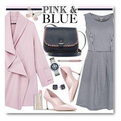 """""""Blue Striped Dress & Pink Coat"""" by brendariley-1 ❤ liked on Polyvore featuring Vince, Poem, laContrie, By Terry, Tory Burch, Kenneth Cole, Jane Iredale, women's clothing, women and female"""