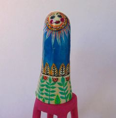 Paper clay finger puppet by ArtisanOfWhimsy on Etsy