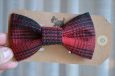 Red and Black plaid flannel bow tie fits both cats by GymboHannah, $12.00