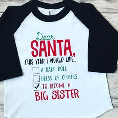 11426055dc9a9 Big Sister Christmas Pregnancy Announcement shirt, Promoted To Big Sister  shirt, pregnancy announcement shirt, soon to be big Sister shirt