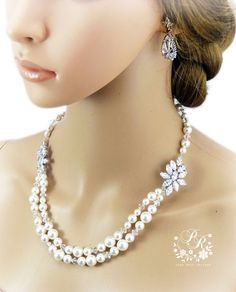 Wedding Necklace Earrings set Swarovski Pearl by PureRainDesigns, $80.00