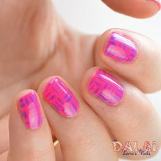 Digital Dozen Neon Cross Hatch | The Dalai Lama's Nails