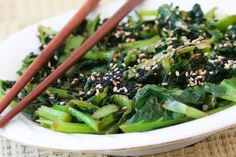 tatsoi, bought at co-op, found this recipe, yummy. Kalyn's Kitchen®: Chilled Wilted Tatsoi Salad Recipe with Sesame-Gin...