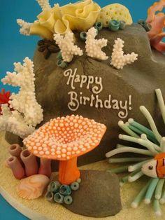 Ocean cake - Beach and Ocean cakes - - Ocean Cake - Best Cake Recipes Aquarium Cake, Ocean Cakes, Best Cake Recipes, Gingerbread Cookies, Fondant, Happy Birthday, Christmas Ornaments, Ocean Ocean, Holiday Decor