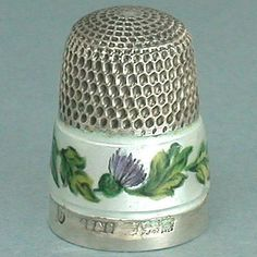 Vintage Enameled Thistles Sterling Silver Thimble English Hallmarked 1963 | eBay