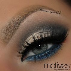 Get the look by #theamazingworldofj using ALL Motives cosmetics: Eye Base, Pressed Eyeshadows Cappuccino, Onyx, Liquid, Blizzard, Creme Fresh, Fantasy along the lower lashline smudged with Khol Eyeliner in Electric Blue, Gel Eyeliner Little Black Dress.