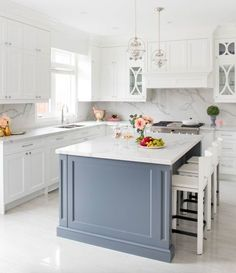 Sefa Stone On Instagram An Open Concept Kitchen Model In Toronto With Marble Floor And Countertops White Tiles Give A Fresh Bright Look