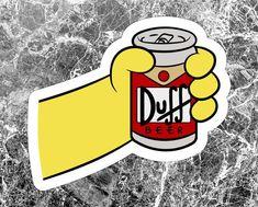Duff Beer Sticker, Homer Sticker, Duff Beer Vinyl Sticker Decal, Inspired by The Simpsons sticker, Inspired by The Simpsons Decal