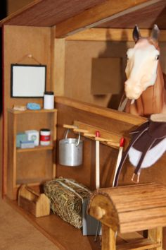 Two stall horse stable with tack room diorama by CastletonCastles Dream Stables, Horse Stables, Horse Barns, Wooden Toy Barn, Toy Horse Stable, Cabin Dollhouse, Bryer Horses, Horse Riding Clothes, Hobby Horse