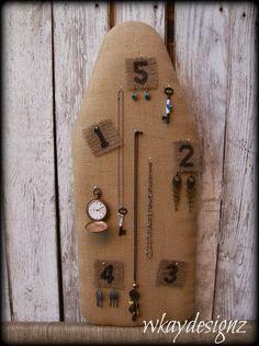 Inspiration - Burlap Jewelry Display Organizer Craft Show Display Retail Display