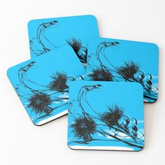 Thistle Seed, Silhouette S, Coaster Set, Top Artists, Colorful Backgrounds, Seeds, My Arts, Vibrant, Blue And White