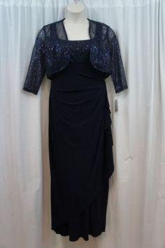 Atelier-Danielle-Jacket-Dress-Sz-12-Navy-Blue-Sequined-2-Piece-Set-Cocktail