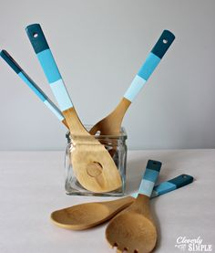 Gift a foodie friend with these colorful paint-dipped kitchen utensils. Bonus point if you match her kitchen's color scheme!