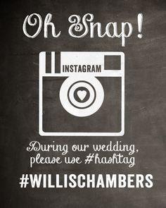 Chalkboard Instagram Wedding Sign by MostazaSeedGraphics on Etsy