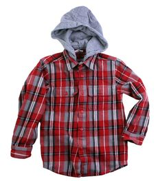 Wes & Willy Boys Hooded Flanner Shirt- Scarlet-wes & willy, boys clothes, trendy, fall 2012, back to school, hooded flannel shirt, scarlet, red