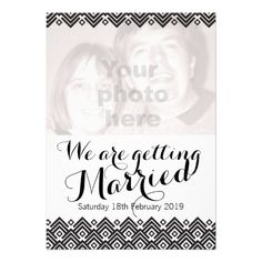 Graphic black and white geometric patterned add your own photo wedding invitation. Designed by www.sarahtrett.com