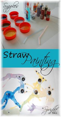 Easy #kid #craft - Straw painting!  {A Sprinkle of This . . . . A Dash of That}