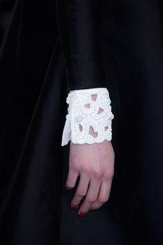 Beaded Cuffs - white on white embellishment; bold monochrome fashion details by Valentino Monochrome Fashion, White Fashion, Look Fashion, Fashion Details, Womens Fashion, Fashion Design, Paris Fashion, Runway Fashion, Valentino 2017