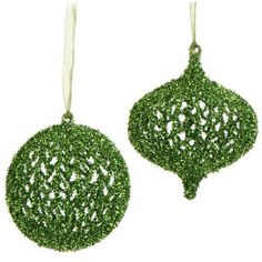 """Green Glittered Mesh Christmas Ornament Set of 2  2 Assorted Styles Color: Green Set includes one of each style Round and onion shaped Made of Plastic Measures 5""""  RAZ 2014 Snow Biz Collection"""