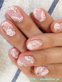 Fluffy pink lace nail    ふんわりピンクのレースネイル