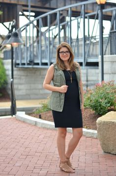 black tank dress, a cargo vest, and sandals from @Marshalls