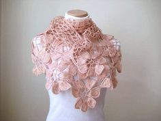 Floral Pale Pink Shawl - Blush Powder Pink Flower Triangle Cowl, Neckwarmer - Gift for Her