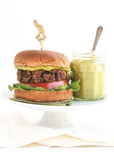 Veggie Black Bean Burgers with Green Tea Basil Aioli - this flavorful recipe is naturally dairy-free, gluten-free and soy-free and a feature from the cookbook Steeped, by Annelies Zijderveld